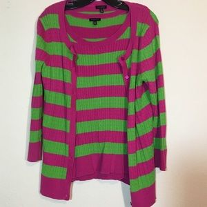 Pink and Green Talbots Cable Knit Cardigan w/ Tank